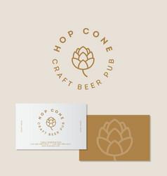 Logo hop cone craft beer identity vector