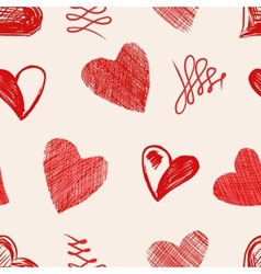 Love hearts sketch hand drawn vector image