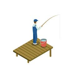 Man fishing isometric 3d element vector