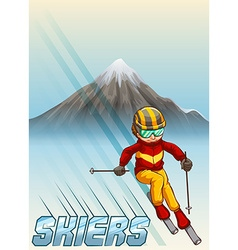 Man playing ski downhills vector