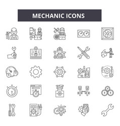 mechanic icon line icons signs set vector image