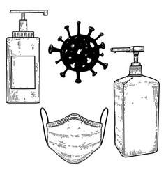 medical mask bottles disinfection liquid vector image