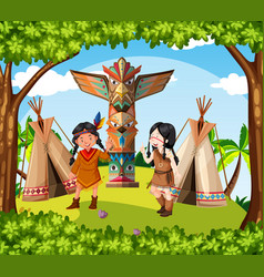 Native american indians at the tribe vector