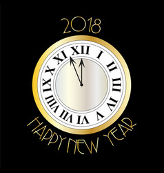 new years eve silver gold clock on black vector image