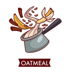 Oatmeal dish cereal food with fruit and spice vector
