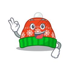 Okay winter hat in mascot shape vector