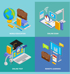 Online education iconcept cons set vector