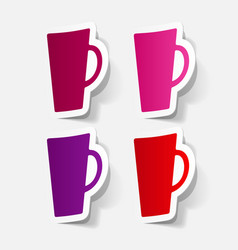 Paper clipped sticker coffee cup isolated vector