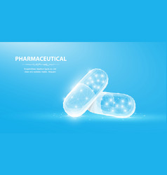 pills abstract 3d polygonal wireframe two capsule vector image