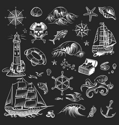 pirate sketch set adventure hand drawn collection vector image