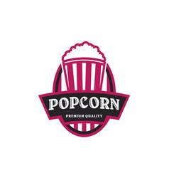popcorn emblem badge logo vector image