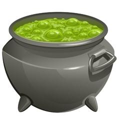 Pot with green magic potion vector image