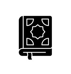 Quran black glyph icon vector