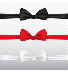 realistic white black and red bow tie isolated on vector image