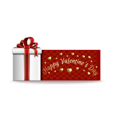 red banner with gift box for valentines day vector image