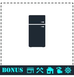 Refrigerator icon flat vector