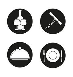 restaurant items icons set vector image