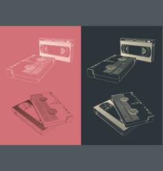 Retro vhs video cassettes vector