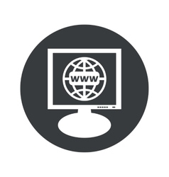 Round global network monitor icon vector