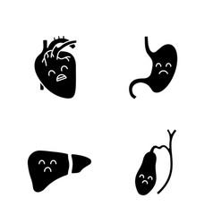 sad human internal organs glyph icons set vector image