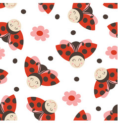 seamless pattern with funny ladybug vector image
