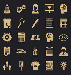 Seo business icons set simple style vector