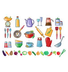 Set kitchen utensils and fresh vector