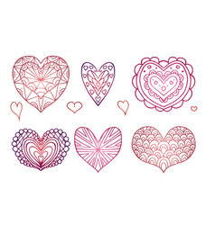 set of contours of the doodle hearts decorated vector image