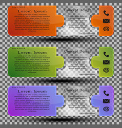 setof colored banners template with transparent vector image