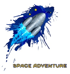 Space rocket with grunge splashes vector