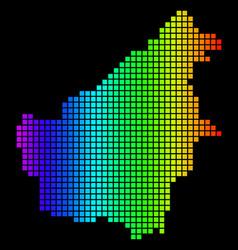 Spectrum pixel dotted borneo island map vector