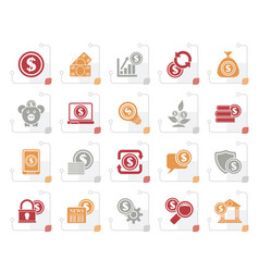 stylized business money and finance icons vector image
