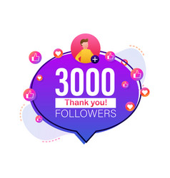 Thank you 3000 followers numbers flat style vector