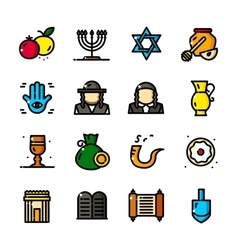 Thin line Judaism icons set vector