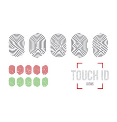 touch id icons set fingerprint scanning vector image