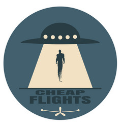 Ufo abducting man vector