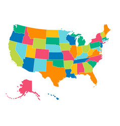 united states - simple bright colors political map vector image