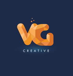 Vg letter with origami triangles logo creative vector