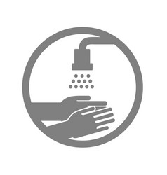 washing hand sign protection warning label vector image