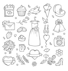 wedding day icons various pictures of brides and vector image