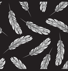 White bird feather seamless pattern vector