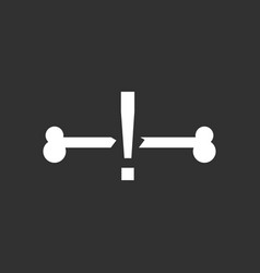 White icon on black background broken bone vector