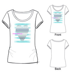 White womens t shirt with trendy print vector