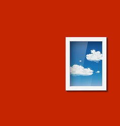 Window with sky and clouds vector image