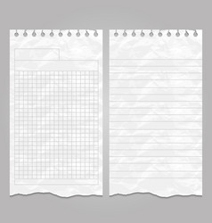 Wrinkled ripped lined page templates for notes or vector