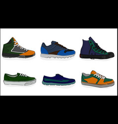 a set of shoes sport shoes eps 8 vector image vector image