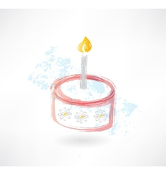 cake and candle grunge icon vector image