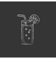 Glass with drinking straw Drawn in chalk icon vector image vector image