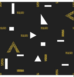 Gold geometric seamless pattern On black vector image