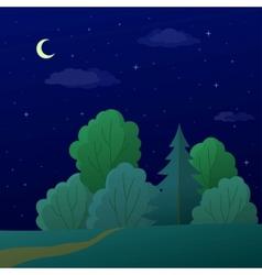 landscape night summer forest vector image vector image